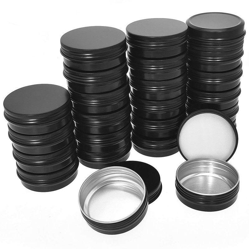HOT-алюминиевые консервные банки - 40 Упаковка 1oz / 30G Round Metal Tin Контейнер с завинчивающейся крышкой Бидоны Cosmetic Sample Контейнеры Свеча Travel Ti