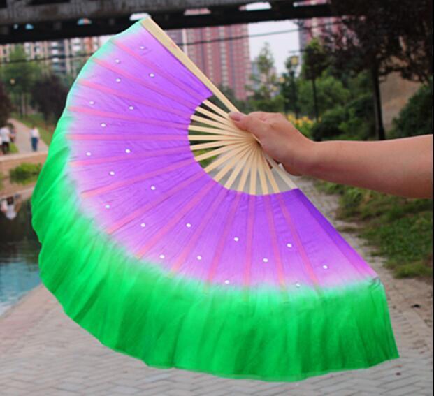 "1pair (1R+1L=2PCS) Chinese Short Silk Dance Fan 30cm (12"") Bamboo+10cm (4"") Half Circle Silk Over Gradient Color"