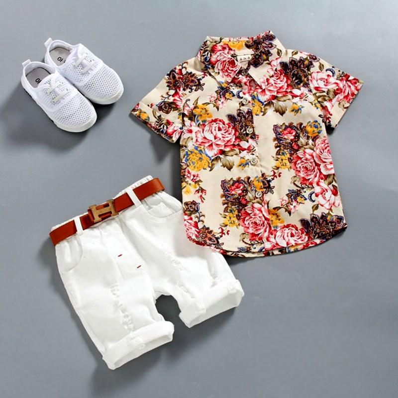 1-5 Years Baby Boy clothes Boys Floral Shirts with Cotton Short pants Kids Fashion Gentleman Summer Outfits Casual Sets Clothing 2pcs/lot