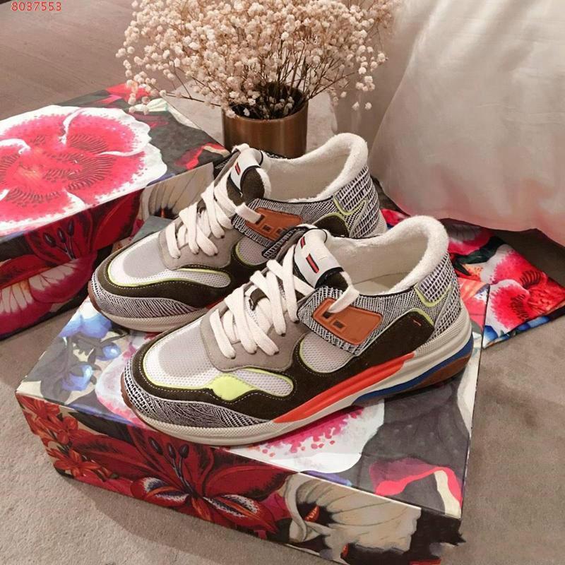 2020NEW Mulher Designer de couro Sneakers No impresso, respirável Oversized tênis branco mulher emenda sapatos de alta qualidade om Box