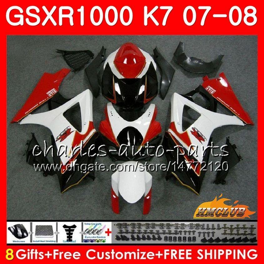 Ciało dla Suzuki GSXR-1000 GSX-R1000 GSXR1000 07 08 Nadwozie 12HC.31 GSX R1000 07 08 K7 GSXR 1000 2007 2008 Pełny biały czerwony akt goryk