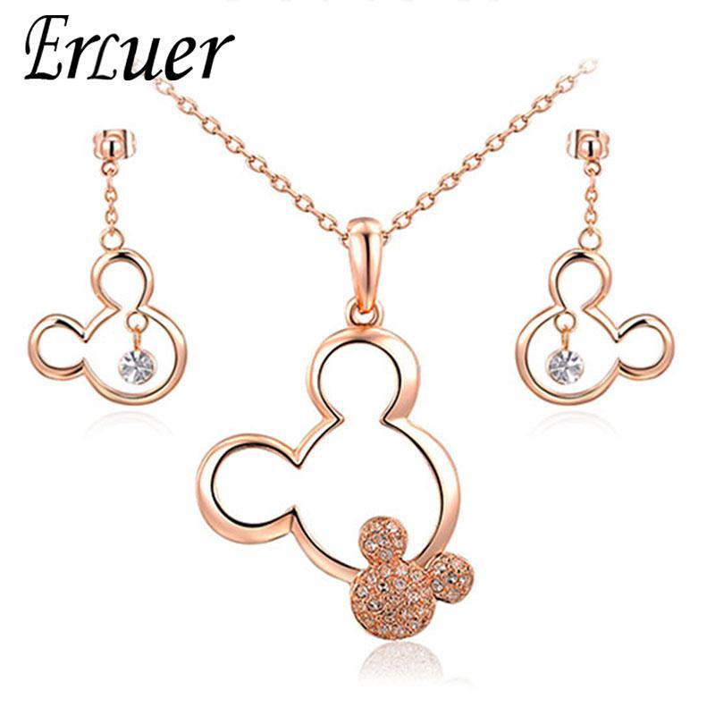ERLUER Schmuck Sets Mickey hängende Halskette Ohrringe österreichischen Kristall Jäten Halsketten-Satz für Frauen-Mädchen-Geschenk-Schmuck