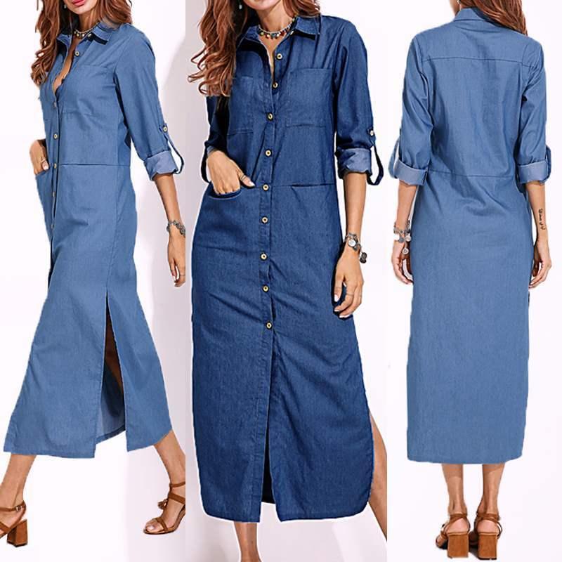 2020 Talla grande Zanzea Spring Elegant Work Ol Sundress Mujeres Casual Lapel de manga larga Camisa larga Vestido Vestido Denim Denim Vestido azul T200416