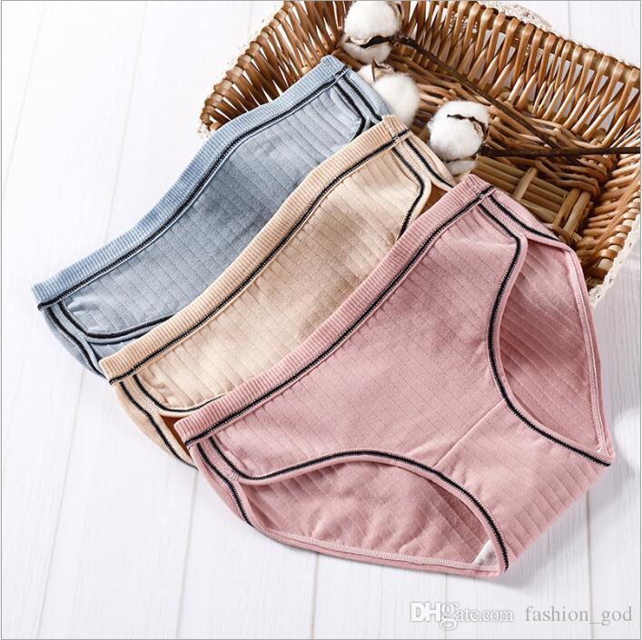 Panties Women Cotton Plus Size Briefs Lady Sexy Striped Panties Soft Sports Thong Briefs Fashion Solid Underpants Women's Underwear B5004