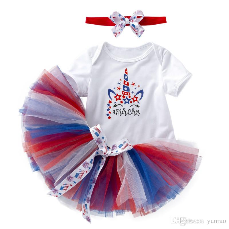 4th July 3PCS Newborn Baby Girls Clothes with Headband 4th of July Toddler Outfit White Romper 3D Tutu Dress 6 Layers Ruffles Ribbon Bow