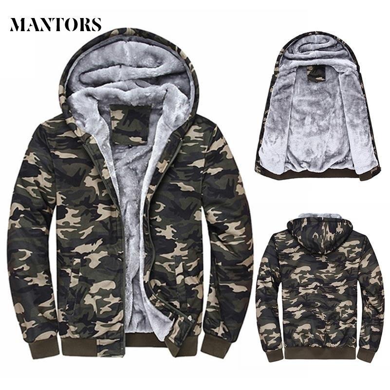 2018 Winter Men Hooded Jackets Casual Sweatshirts Camouflage Men 's Sportswear Hoodies Fleece Camo Warm 두꺼운 Moletom Masculino