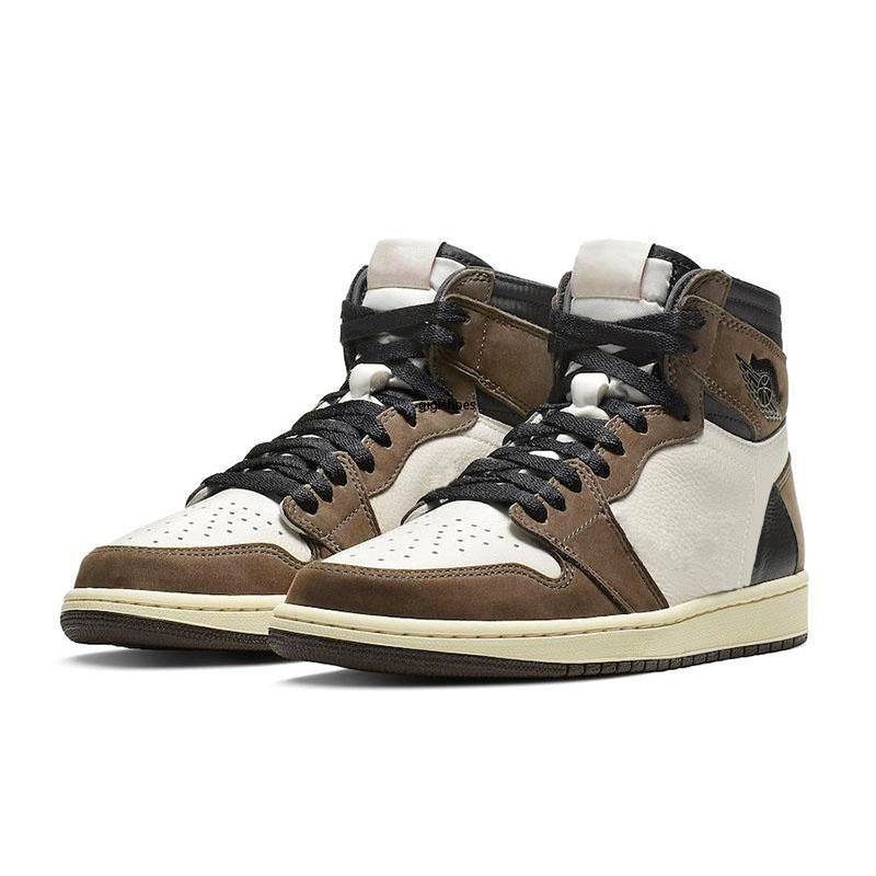 1s High OG Трэвис Скоттс баскетбольная обувь 1s top 3 мужская дань уважения дому коричневые Мужские спортивные дизайнерские кроссовки тренеры