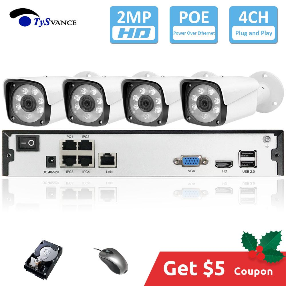 4 채널 HD 1080P 2MP POE 키트 H.265 시스템 CCTV 보안 8 채널 NVR 2.0MP 야외 방수 IP 카메라 감시 알람 비디오