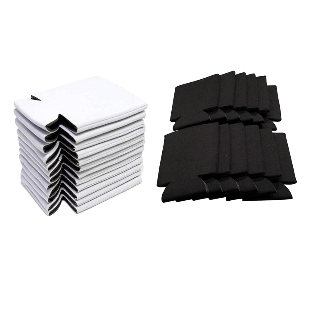 40 Pièces Soif Coolers Manches souple isolé réutilisable Blanc Noir