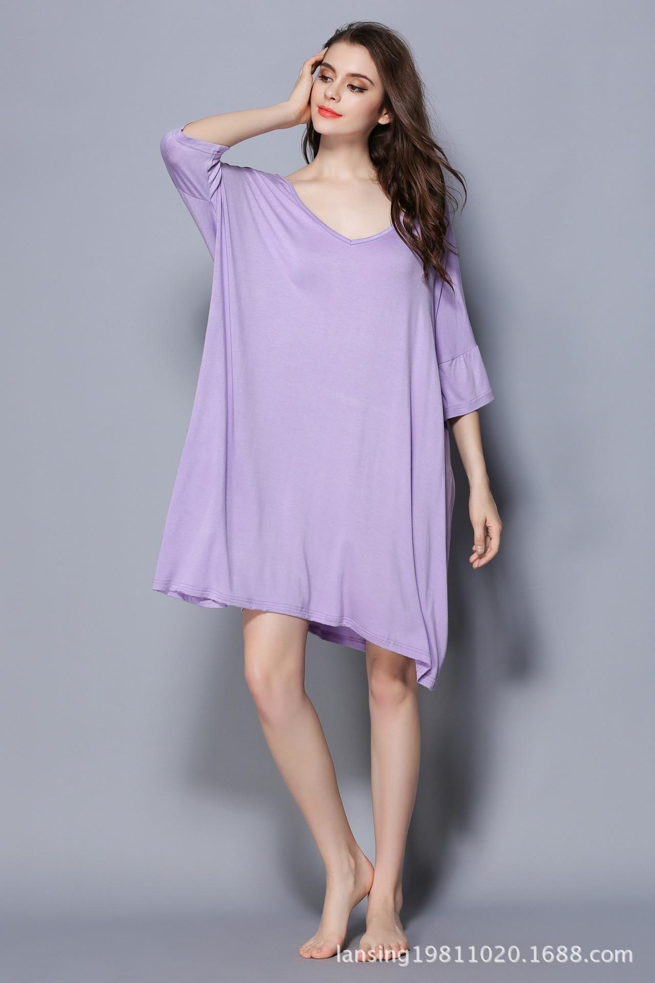 Nightdress spring and summer new medium and long T-shirt medium sleeve large size nightdress modal Pajama has fat plus size women Lavender