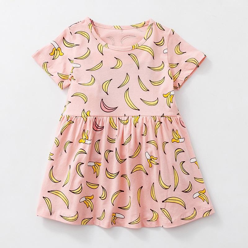 Muz Baskı Çocuk Giyim KF546 ile Bebek Kız Giydirme 1-6 yaşında çocuklar% 100 için Pamuk Yaz Günlük Elbiseler