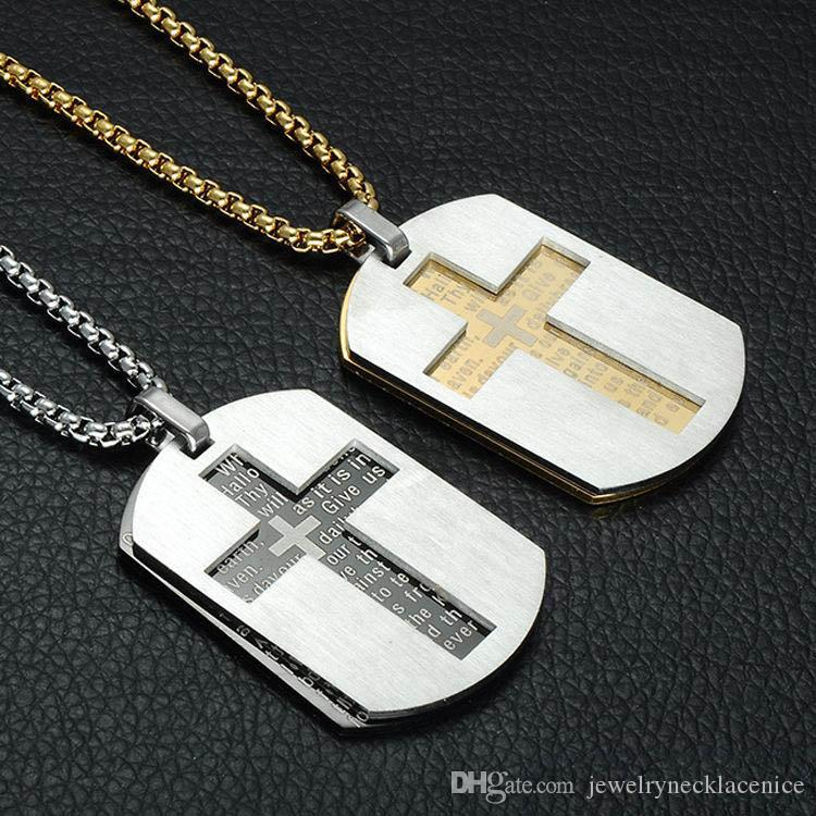 newCross Necklaces Pendants Christian Jewelry Bible Lords Prayer Dog Tags Gold Color Stainless Steel Christmas Gift For Men