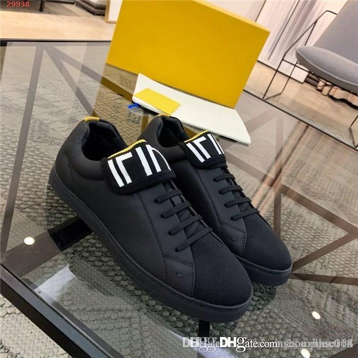 Homens outono e inverno clássico calçados esportivos casuais, de couro preto com tecido de malha respirável, tênis de borracha sola lisa com pacote completo