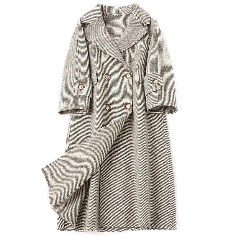 Abrigo de lana largo femenino de Corea de la vendimia del resorte del otoño de la chaqueta de ropa de las mujeres Outwear 2019 casual de oficina Señora abrigos Abrigos ZT2385
