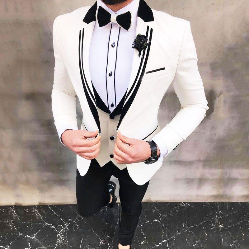 최신는 남성 결혼식 숄 라펠 신랑 턱시도 3Piece (코트 + 바지) 남자 자켓 의상 옴므 슬림핏 Terno Masculino 흰색 정장 디자인