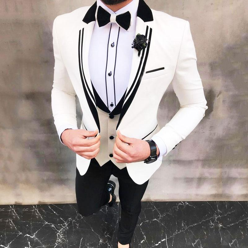 Latest Designs White Suits for Mens Wedding Groom Tuxedos 3Piece(Coat+Pants)Man Blazer Costume Homme Mariage Slim Fit Terno Masculino