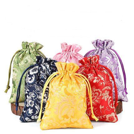 Floral de la fiesta pequeña bolsa de seda china bolsa de regalo con cordón de tela bolsas de embalaje de Navidad boda bolsos del favor 50pcs / lot