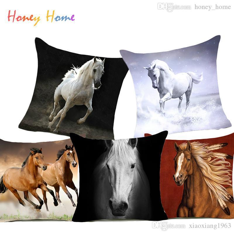 Cavalos de Poliéster Capa de Almofada Steed Animal War Horses Home Decorativa Fronha para o Sofá Carro Nordic 45x45 cm Do Vintage