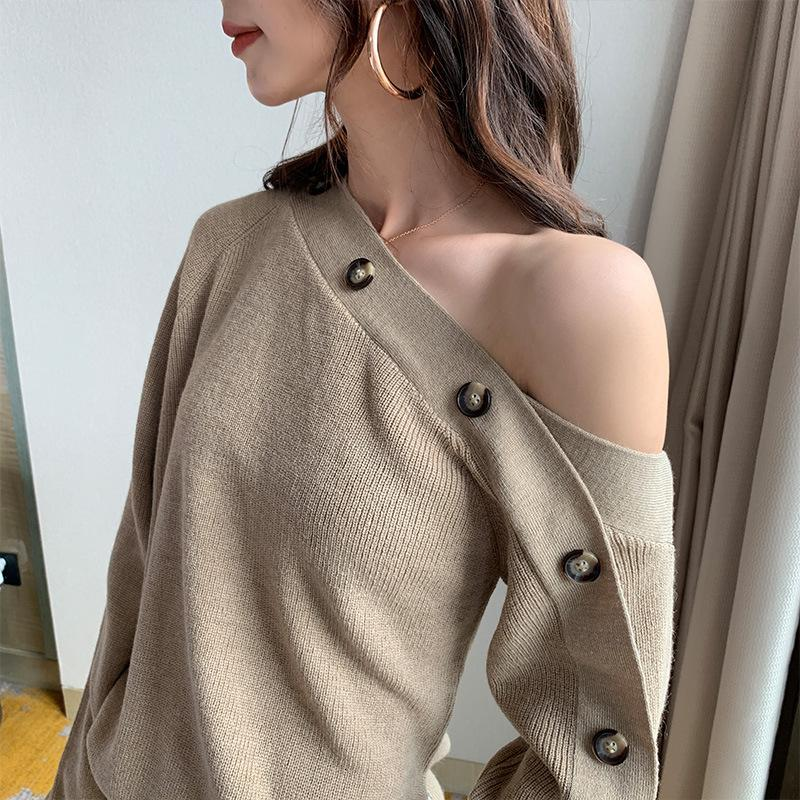 MEVGOHOT 2019 New Woman Sexy Off The Shoulder Sweater Knitted Irregular Collar Button Up Oversize Autumn Sweaters Female HD2354
