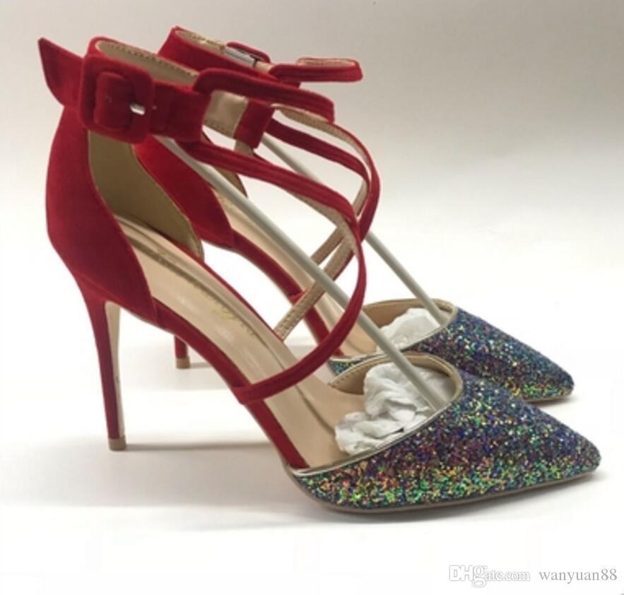 Novas lantejoulas Cross Belt Sandals Cússia Fine Salto Feminino Sapatos de Salto Alto 8cm 10cm 12cm Tamanho Grande 44 Nightclub de Banquete Casamento Vermelho Fundo Vermelho