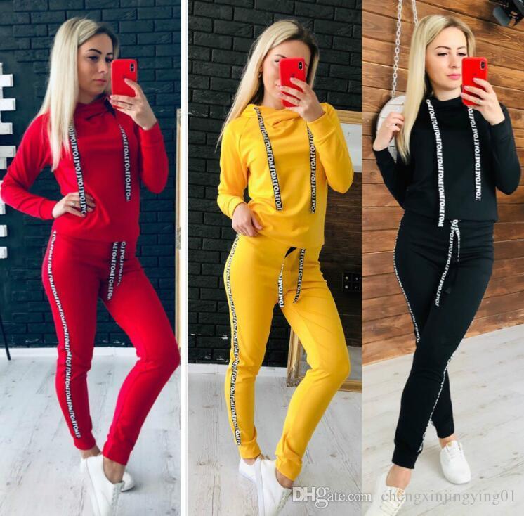002Women работает костюм с длинным рукавом из двух частей сплошной цвет спортивный костюм эластичный пояс спортивный костюм тренажерный зал обучение йога бег женщин Повседневная sw