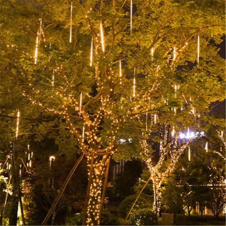 8 أنبوب نيزك ضوء LED في الهواء الطلق للماء الهندسة أضواء الزينة فانوس جوفاء دش نيزك على الوجهين أضواء CRESTECH