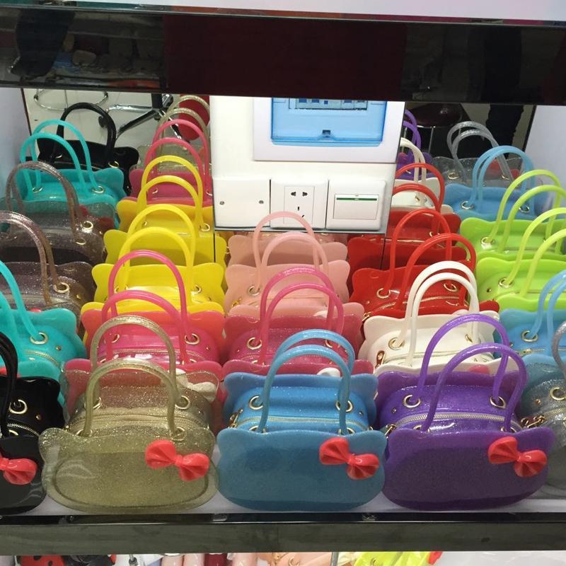 JELLYOOY Kid Girls Bow-Knot PVC Candy Colors Jelly handbag Children Shoulder Bag Silicon Tote Beach messenger Bag Purse