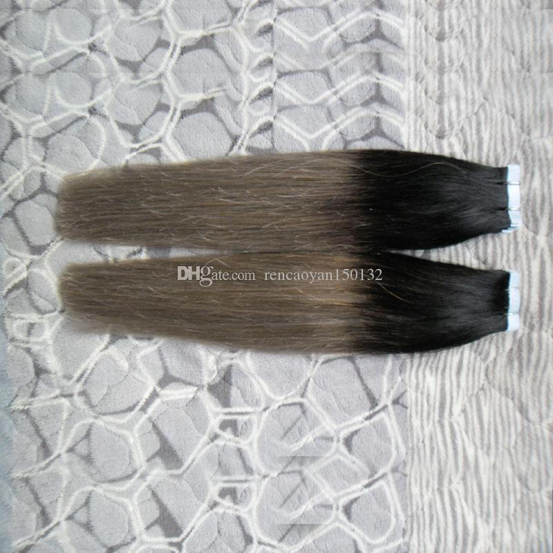 Black And Gray Tape In human hair extensions ombre virgin brazilian straight hair Two tone 40PCS/PACK PU Skin weft tape hair extensions 100g