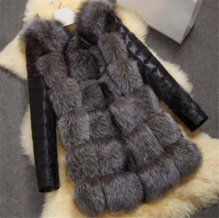 Новое высококачественное серебро Fox Sharm PU рукава зима теплые плюс размер лисица пальто пальто
