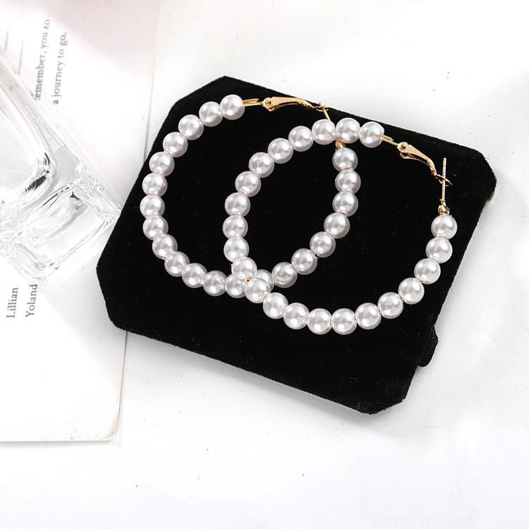 Neue koreanische Version der Cold Wind Fee Temperament wilden Perlen übertriebene große Kreis-Ohrringe Ohrringe Ohrringe