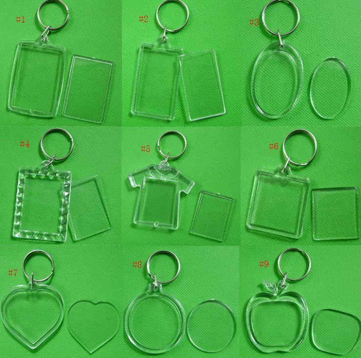Atacado DIY em branco Acrílico photo chaveiros em forma Chains Limpar tecla Insert plástico Photo Keyrings frete grátis