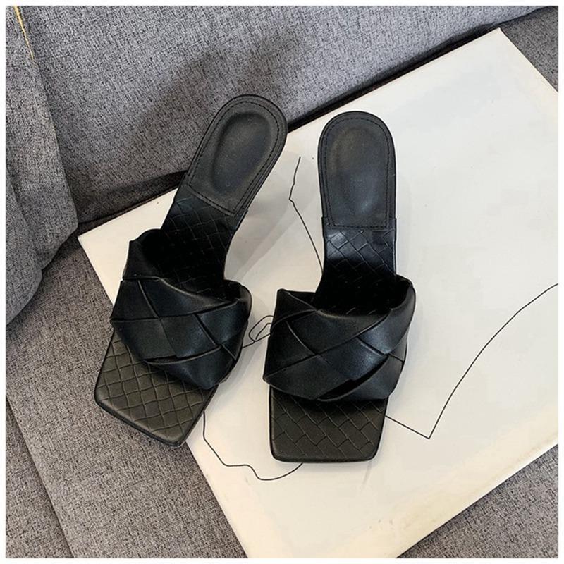 Chinelos design de moda mulheres chinelo fino salto alto quadrado dedo sandália verão senhoras slide elegante vestido sapatos