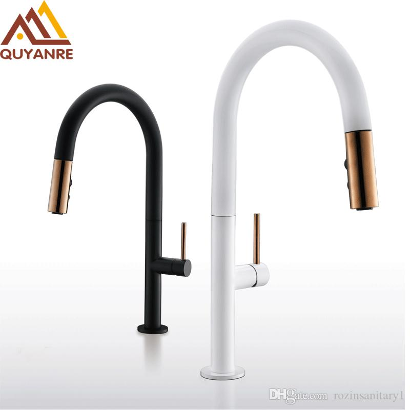 2019 Wholesale And Retail White Black Pull Out Kitchen Faucet Brass Luxury  Mixer Sink Faucet Hot And Cold Water Mixer From Rozinsanitary1, $152.47 |  ...