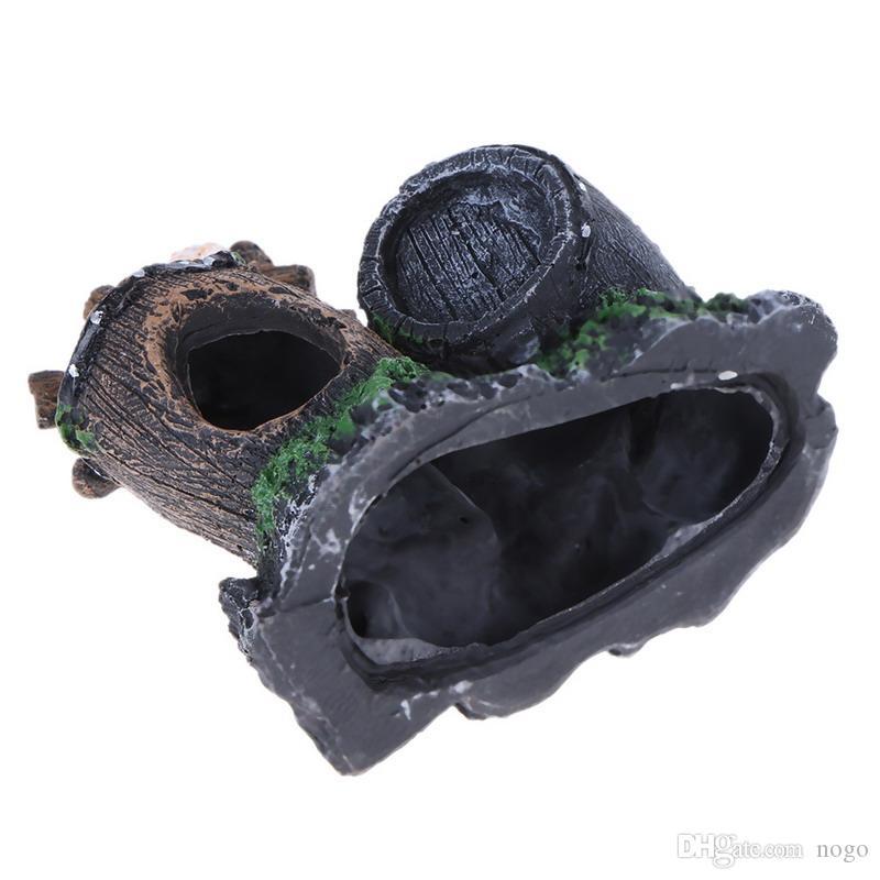 Acuario de resina Adorno Tanque de peces Caja de tesoro artificial Estuches Cuevas Adorno Paisajismo Muebles Decoración de acuarios