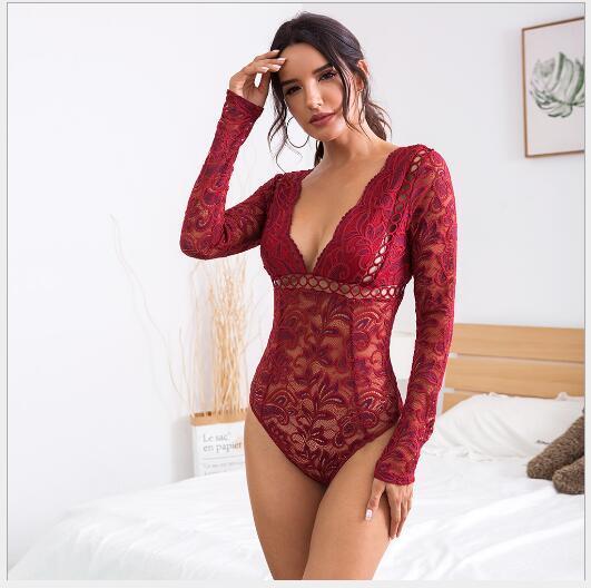 Großhandel europäischen und amerikanischen Art und Weise neue heiße Verkauf Frauen Spitzen Hohl Perspektive tiefe V Damen jumpsuit290