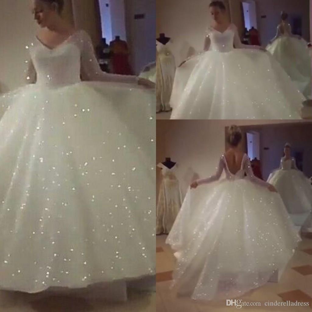 2020 White Glitter Wedding Dresses with Long Sleeve Sequin V-neck Puffy Skirt Sparkly Backless Princess Garden Civil Bridal Wedding Gown
