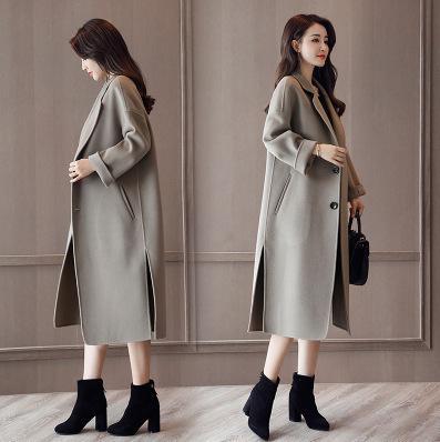 Mulher Casacos de inverno 2019 New solto Double-sided casaco de lã Cashmere Brasão cor sólida temperamento longa Seção de lã