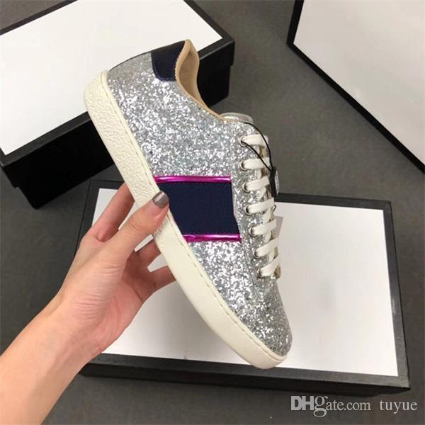 Мода Повседневная обувь кроссовки обогащенная сверкающими кристаллами веб-блеск Сильви тапки для мужчин женщин.