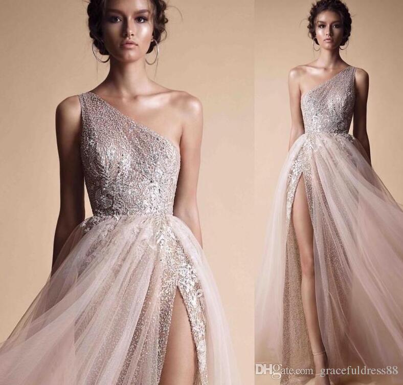 Berta A Line Платья для выпускного вечера Вечерняя одежда Бесплатная доставка одно плечо блестками блестящие вечерние платья с высоким разрезом на заказ вечерние платья