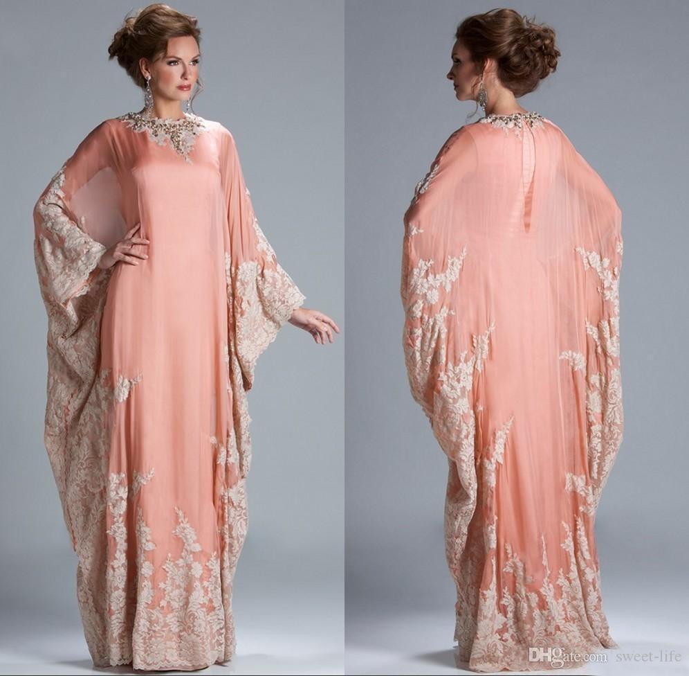 2019 neue Chiffon Kaftan Dubai Arabian Abendkleid mit langen Ärmeln Applikationen Spitze ausgestattet muslimischen Mutter der Braut Kleider in Übergröße