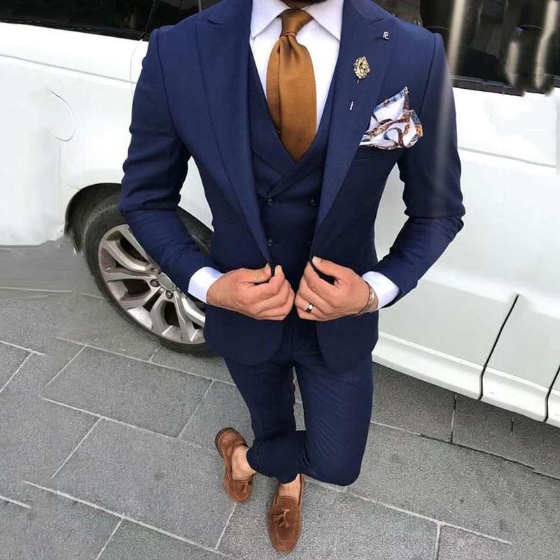 Son Pantolon Ceket Tasarımları Lacivert Erkekler Düğün için Suits Balo Adam Blazers Damat Smokin Terno Masculino Kostüm Homme 3 Parça