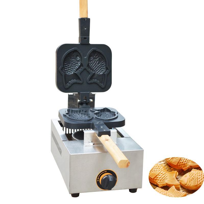 SICAK Satış ticari kullanım Taiyaki Balık şeklinde Waffle makinesi gaz Balık Kek Taiyaki Baker soba yapışmaz 2 kalıpları