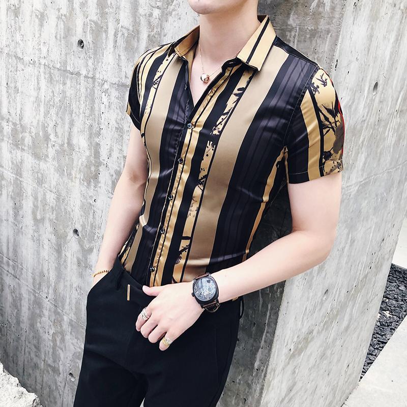 Erkekler için Lüks Altın Siyah Gömlek 2020 Yaz Kısa Kollu Moda Tasarımcısı Parti Kulübü Balo Parti Gömlek Şık Altın İnce Gömlek