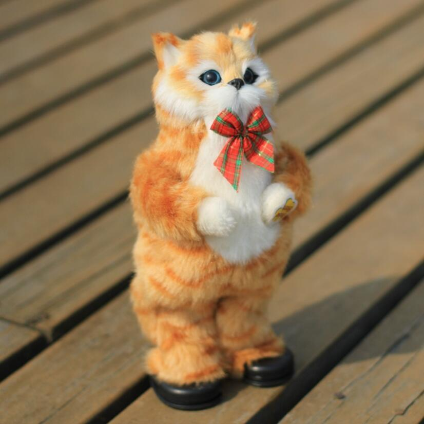 1pc Cute Simulation Cat Electric Yellow Cat Singing And Dancing Cat Doll Gift Kids Interactive Toys/30cm Y19062704