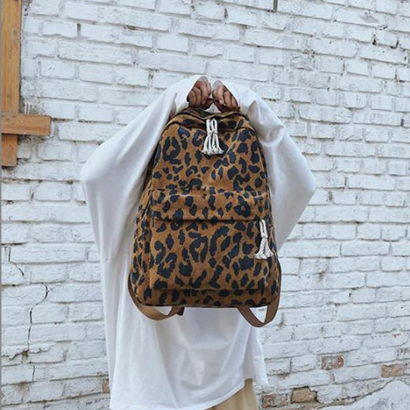 الأزياء حقيبة الظهر أنثى ليوبارد طباعة القطن المزدوج الأشرطة المرأة حقيبة الظهر السفر سعة كبيرة الكتف مدرسة البنات