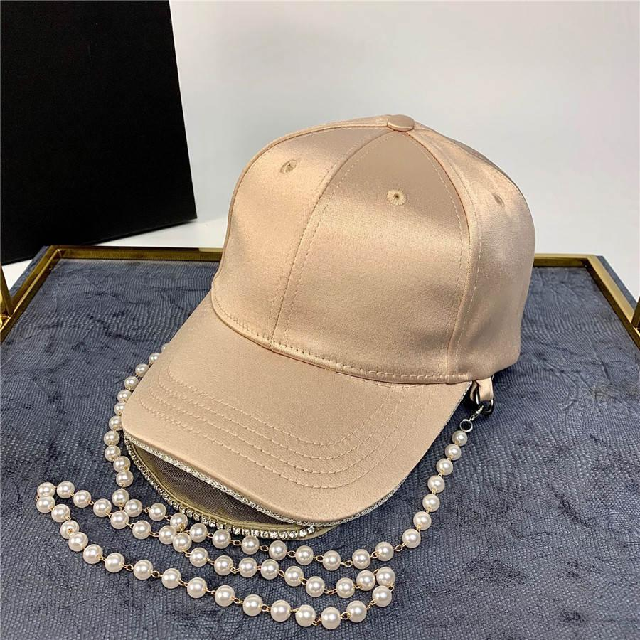 Fashional Pérola Chapéu Chains Designer 3 cores Rua Baseball Cap Ball Caps para Mulher ajustável Hot Marca Hat Gorros com corrente