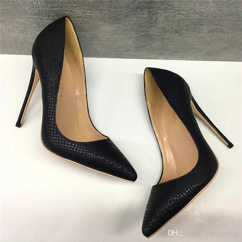 검은 사문석 얇은 굽 높은 굽 신발 12CM 슈퍼 하이힐 세련된 섹시한 연회 여성 신발 33-44 야드 사용자 정의