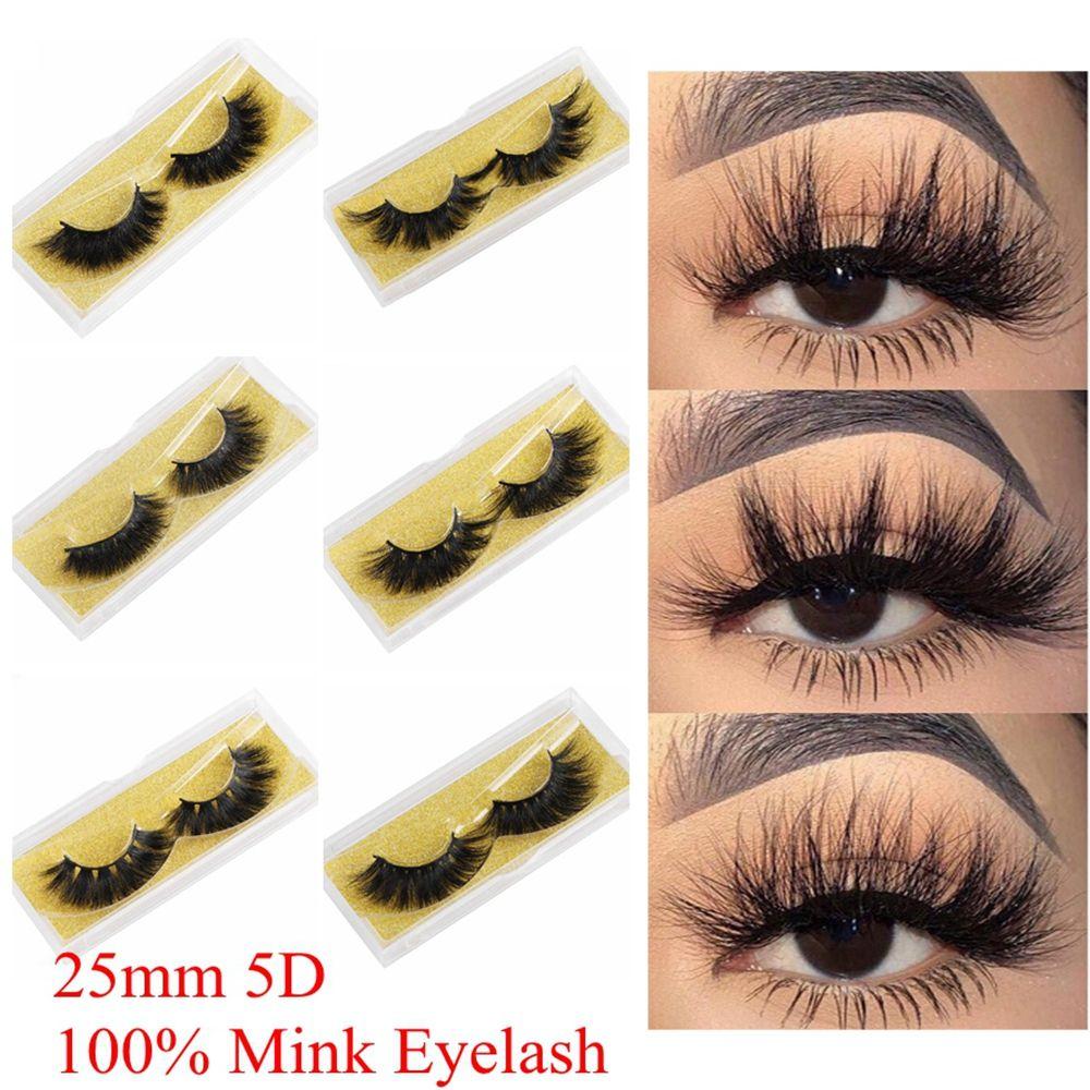 25mm 3D Mink Eyelashes Natural Handmade Big Volume Soft Wispy Fluffy Fake Lashes Long Eyelash Extensions 100% Real Mink Eyelash for Makeup