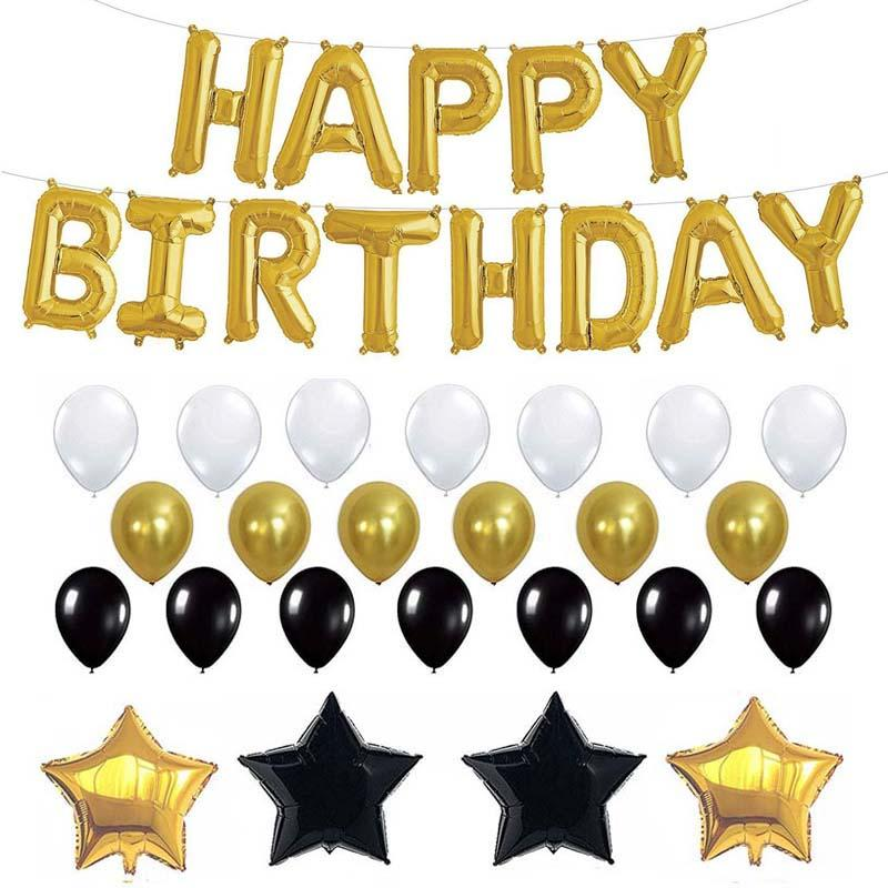 26pcs/Set Happy Birthday Balloons Gold Black Latex Foil Balloons for Adult Birthday Party Decorations Supplies