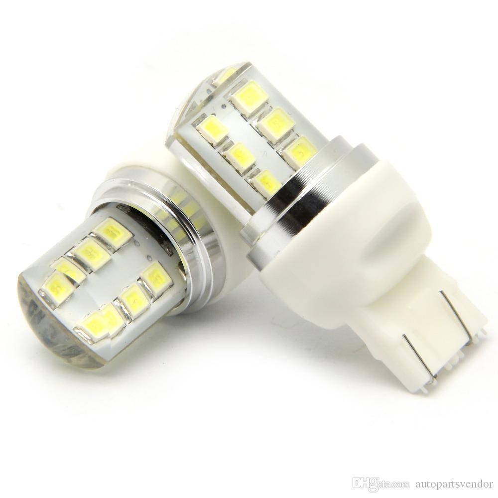 10PCS 7443 T20 Flash automático estroboscópica Bombilla LED parpadeante freno de la cola en zigzag enciende la lámpara de coches Bombilla de freno parpadean en rojo llevó la cola parada, luz 12v